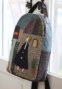 Japanese Patchwork, Patchwork Bags, Quilted Bag, Wool Applique, Applique Quilts, Sacs Tote Bags, Sewing Crafts, Sewing Projects, Fabric Bags