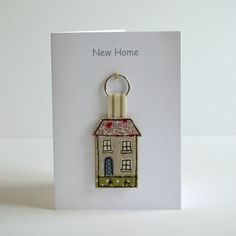 New Home Card with House Key ring / Keyfob moving home card