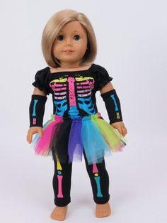 "Costume Made for 18"" American Girl Rainbow Neon Skeleton Tutu Bones Halloween  #18inchdollclothes"