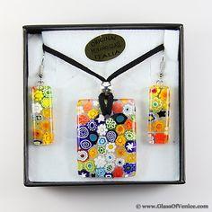Murano Glass Millefiori Jewelry Set