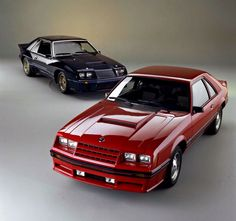 Ford promotional photo of a Medium Red 1982 Mustang GT with a cool black GT in the background. Ford Mustang Coupe, Ford Mustang Shelby, Car Ford, Fox Body Mustang, Mustang Cobra, Moto Design, Chevrolet Malibu, Pony Car, Sexy Cars