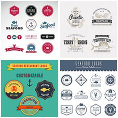 Seafood badges and logos for cafe or restaurant set vector