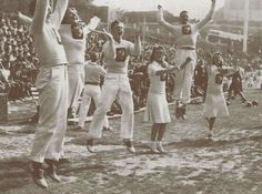 1942 cheer squad at Multnomah Civic Stadium in Portland during an Oregon football game.  From the 1943 Oregana (University of Oregon yearbook).  www.CampusAttic.com
