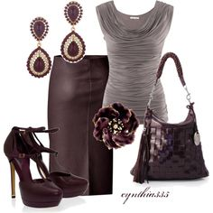 Pencil Skirt Outfits For Work | Cute Work Outfits 2012 | Plum Leather Skirt | Fashionista Trends