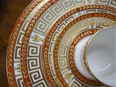English Minton greek key pattern for Tiffany & Co. Greek Key, Dinner Sets, China Patterns, Interior Exterior, Fine Porcelain, Fine China, Beautiful Patterns, Makers Mark, Dinnerware