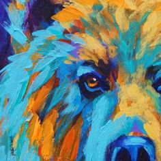California Artwork: Colorful Animal Art, Grizzly Bear Painting by ...