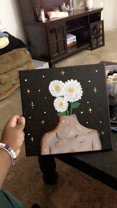 Easy Canvas Art, Simple Canvas Paintings, Small Canvas Art, Cute Paintings, Mini Canvas Art, Acrylic Painting Canvas, Diy Painting, Hippie Painting, Trippy Painting