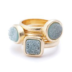 Marcia Moran Blue Druzy Stackable Rings