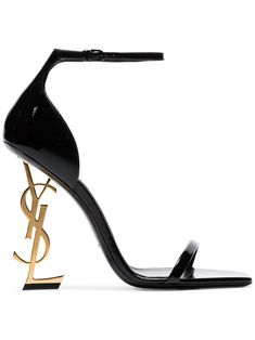 Saint Laurent Opyum Sandals In Patent Leather With A Gold-toned Heel In 1000 Black Dr Shoes, Cute Shoes, Me Too Shoes, Gold Shoes, Black Sandals, Leather Sandals, Ysl Sandals, Strap Sandals, Sandals Sale