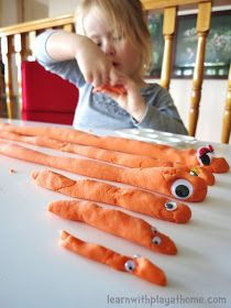 Learn with Play at Home: Length, Measurement and Patterning with Playdough Snakes.