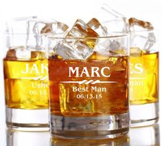 9 Whiskey Glasses Rocks Glass Groomsman by EverythingDecorated, $94.50