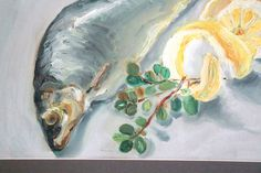 Still life fish realism oil painting for kitchen by Artbrushing, €70.00