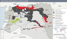 verlorene IS Gebiete ( in rot)