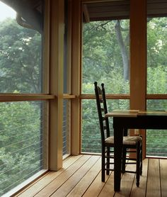 screen porch with cable railing