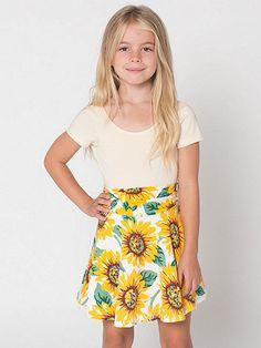 Kids Printed Cotton Spandex Jersey Wide Waistband Skirt
