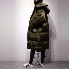 90% White Duck Down Parkas Jacket Coat Female 2016 New Fashion European Style Long Padded Army Green Winter Jacket Women WUJ0694