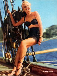 vintage Rita Hayworth in a bathing suit swimsuit