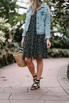 69d821f43e Spring Outfit  Floral Dress + Denim Jacket