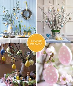 decoracao-pascoa-arvores-de-ovos                                                                                                                                                                                 Mais Happy Easter, Easter Bunny, Easter Eggs, Bunny Party, Arts And Crafts, Diy Crafts, Easter Parade, Spring Has Sprung, Easter Wreaths