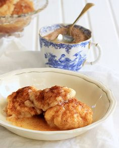 Sweet, buttery cinnamon dumplings with cinnamon syrup. Souskluitjies just like grandma made. Quick, easy and cheap too.