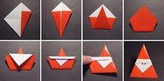DIY ideas and tutorials - Origami Santa DIY Ideen und Tutorials - Origami Santa Origami Diy, Origami Modular, Origami And Kirigami, Origami Folding, Origami Design, Origami Paper, Diy Paper, Paper Crafting, Origami Ideas