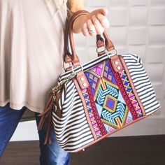 What's the hottest trend sweeping the US and Europe? And these embroidered purses are real show stoppers. Be prepared for compliments galore! Aztec Purses, Aztec Backpacks, Clutch Bag Pattern, Aztec Bag, Cute Wallets, Striped Bags, Embroidered Bag, Kate Spade Handbags, Backpack Purse