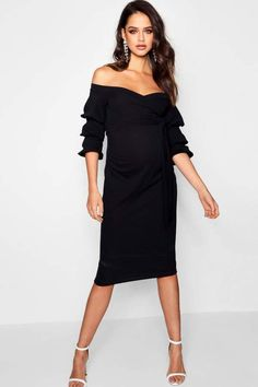 boohoo Maternity Ava Off Shoulder Detail Midi Dress