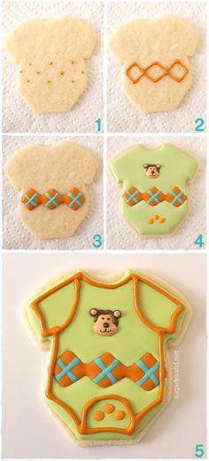 Onesie Baby Shower Cookies with Argyle Pattern | sugarkissed.net