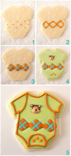 Onesie Baby Shower Cookies with Argyle Pattern by @Janine Hardy (sugarkissed.net)