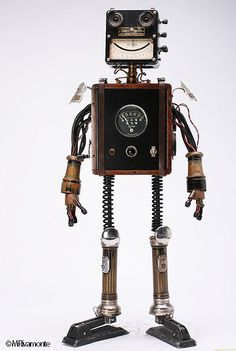 "Found object retro robot. ""Jones"" by Rivamonte Robots."