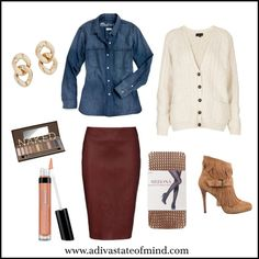 During the fall/winter season, pair your chambray shirt with a cardigan and leather skirt (or pants) for a sophisticated yet on trend outfit.