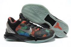 Nike Air Zoom Kobe VII(6) Mens Basketball Shoes Black Silver Fluorescent         The Nike Zoom Kobe VII basketball shoe features a highly durable, cast polyurethane shell upper that provides durability and a performance fit. Mesh placed under the shell adds ventilation and a graphic pattern that tells the predator story. Next-generation Flywire technology offers lightweight support and