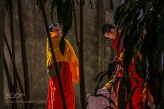 behind the bamboo by StefanRadi  light bamboo orange wall monks Thailand Asia StefanRadi