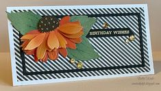 created by bjk: BIRTHDAY STRIPES Fun Fold Cards, Folded Cards, Fall Birthday, Birthday Wishes, Bee Cards, Men's Cards, Honey Bee Stamps, Flower Center, Fall Cards