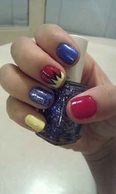 Ode to the Man of Steel! Lovin my cute Superman inspired nails