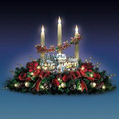 Thomas Kinkade Christmas Sculpture Floral Village Holiday Candle Centerpiece