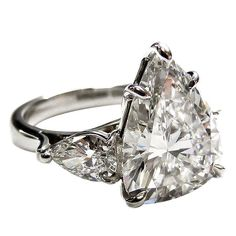 An Important 5.82 Carat Pear Shape Diamond Ring | From a unique collection of vintage solitaire rings at https://www.1stdibs.com/jewelry/rings/solitaire-rings/