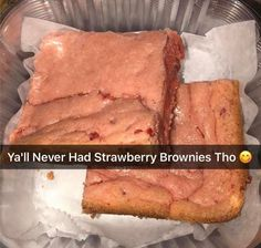 would you ever try strawberry brownies 💞? Snack Recipes, Cooking Recipes, Snacks, Sweets Recipes, Food Goals, Aesthetic Food, Food Cravings, I Love Food, Soul Food