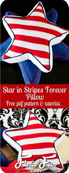 I love this patriotic pillow sewing pattern. It& FREE and is so perfect for the summer holidays. Love her step by step DIY instructions too. Craft Projects For Adults, Easy Sewing Projects, Sewing Tutorials, Sewing Crafts, Fleece Projects, Sewing Tips, Fun Projects, Sewing Pillows, Diy Pillows