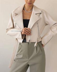 #jacket #whitejacket #bikerjacket #outerwear #springouterwear #summer2021 #women'souterwear #casualouterwear #womensjacket #everydaystyle #casualstyle #outfits #ecoleatherjacket #streetstyle #fashionstyle #lichibrand #lichishop #lichiouterwear Formal Casual Outfits, Hijab Fashion Inspiration, Online Fashion Stores, Korean Outfits, Nice Dresses, Amazing Dresses, Vegan Leather, Winter Fashion, Leather Jacket