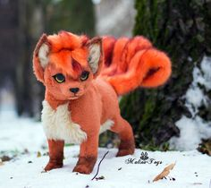 Poseable toy Commission Vulpix by MalinaToys on DeviantArt : Poseable toy Commission Vulpix by MalinaToys Pokemon Dolls, Pokemon Plush, Pokemon Fan Art, Cute Pokemon, Cute Fantasy Creatures, Cute Creatures, Magical Creatures, Felt Animals, Cute Baby Animals