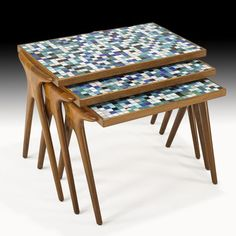 Walnut and Mosaic Glass Nesting Tables, Painted Furniture, Nesting Tables, Creative Tables, Mid Century Table, Nesting Coffee Tables, Residential Furniture, Cool Furniture, Glass Nesting Tables, Iron Decor