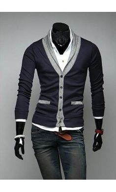 Mens contrast long sleeve cardigan with folding collar. Navy. - Apostolic Clothing #modern #menswear     http://www.halftee.com