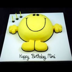 Mr Happy cake - For all your cake decorating supplies, please visit craftcompany. Mr Happy C Ciara Birthday, Happy Birthday, Man Birthday, Birthday Ideas, Birthday Wishes, Birthday Cakes For Men, Cakes For Boys, Cake Kids, Birthday Cake Decorating