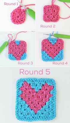 {Crochet} Granny Heart Tutorial