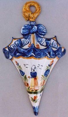 Quimper Pottery Umbrella Wall Pocket
