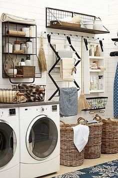Organization Station - 10 Laundry Room Ideas We're Obsessed With - Southernliving. Laundry rooms are hard-working spaces. Max out your storage and workspace with a meticulously thought-out organization station. This one has a place for everything.  See P