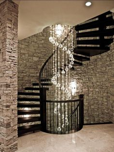 Contemporary Staircase with High ceiling, Spiral staircase, Matte White Baffle Recessed Kit, Floating staircase, Chandelier