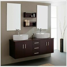 Top 17 Luxurious IKEA Bathroom Designs 2012 : Beige Beautiful IKEA Bathroom Design with Contemporary Bathroom Vanities and Double Mirrors