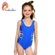 ac107ea5499 Andzhelika 2017 Girls Sports Swimsuit One-piece Swimwear Patchwork Solid  multicolour Bodysuit Suit Girls Swimwear